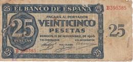 BILLETE DE ESPAÑA DE 25 PTAS DEL 21/11/1936 SERIE B (BANKNOTE) - [ 3] 1936-1975 : Regency Of Franco