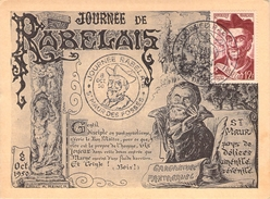 FRANCE CARTE MAXIMUM  NUM.YVERT866 RABELAIS - 1950-59