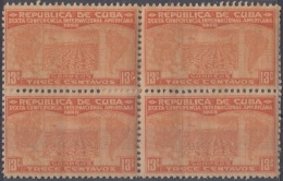 1928-101 CUBA REPUBLICA. 1928. Ed.228. 13c SEXTA CONFERENCIA PANAMERICANA. TABACO TOBACCO BLOCK 4 MANCHAS. - Cuba