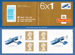 GREAT BRITAIN 2003 BARCODE BOOKLET CARNET 4x 1ST. GOLD + 2 MECCANO AEROPLANE 1ST.  DE LA RUE CYL. No. S.G. PM 11 - Libretti