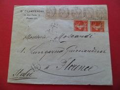 Lettre G. Champendal Paris 2/3/1912 Pour Florence  4/3/1912 Cachet Facteur (62) Les N° 107x5 (2 Paires+1) & 138 X 2 B/TB - 1877-1920: Semi-Moderne