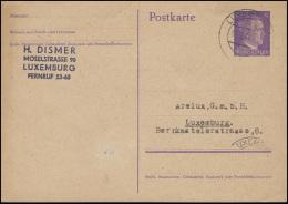 Luxemburg Postkarte P 299I Hitler 6 Pf Orts-PK Kohlenhandlung LUXEMBURG 31.7.44 - Occupation 1938-45
