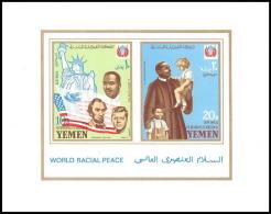 371z - Yemen Kingdom MNH ** Bloc N° 130 B  Non Dentelé (imperforate) Kennedy / Luther King Lincoln