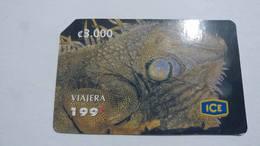 Costa Rica-servicio Colibri197-(prepiad Card 22)-(c3000)-2/2005-Animals-chameleon-used Card - Costa Rica