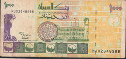 SUDAN P59b 1000 DINARS 1996 #MJ  Signature 11 , 8 Digit # VF Nice No P.h. ! - Soedan