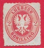 Lübeck N°10 2s Rose 1863 (*)