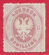 Lübeck N°14 1,5s Lilas 1866 (*)