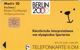 Germany, O 0750-04/93, Card Number 610,  Olympia 2000 Berlin (Motiv 10) - Fechten / Reiten, Only 3000, 2 Scans.