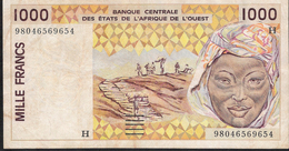 W.A.S. NIGER LETTER H P611Hh 1000 FRANCS  (19)98  VF RARE DATE - Niger