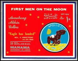 694 Manama MNH ** Mi Bloc N° 37 First Men On The Moon Landing Of Apollo 11 Non Dentelé (imperforate)