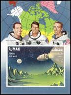 700 Ajman - MNH ** Mi N° 67 B Apollo 7 Over Moon Landscape Espace (space) Non Dentelé (imperforate)