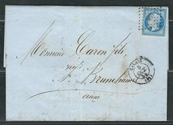 FRANCE 1858 N° 14  Obl. S/Lettre PC 583 Calais - 1853-1860 Napoleone III