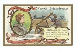 Chromo Newton Les Bienfaiteurs De L'Humanité Pub: Chocolat Guerin-Boutron 105 X 65 Mm  TB - Guérin-Boutron