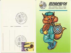 Casalecchio Di Reno, 28.7.1991, Campionati Europei Di Tiro A Segno, Tiro A Volo, Annullo Su Cartolina Ufficiale. - Tiro (armi)