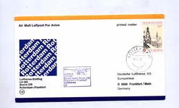 Lettre Premier Vol Lufthansa Rotterdam Frankfurt - Airplanes