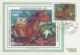 ITALIA - FDC MAXIMUM CARD 1999 - ANTONIO LIGABUE - ARTE -  ANNULLO SPECIALE GUALTIERI - Cartoline Maximum