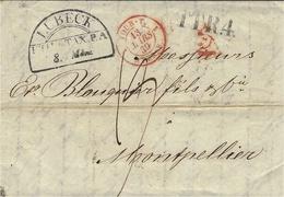 1839- Lettre De LUBECK  ( Allemagne )  + T.T R.4  Noir Entrée TOUR.T 1  STRASB. 1   Rouge - Marcophilie (Lettres)