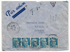 FRANCE - Enveloppe Affr 5x5F Gandon (1 Touché) Marseille 1948 + TAXE 30F Par Bloc 10x3F Madagascar France Libre - 1945-54 Marianne (Gandon)