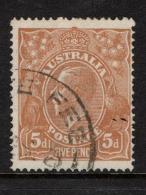 """Australia   1917    """"5d  Dull Yellow Brown KGV - Single WMK""""   VFU   (0) - Oblitérés"""