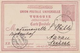 Türkei-Ganzsache 1894 Nach Aarau/Schweiz - 1837-1914 Smyrna