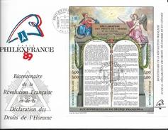 """PhilexFrance 89 - Bloc Feuillet """" Déclaration Des Droits De L'homme Et Du Citoyen"""" ( Oblit 1er Jour Du 7.07.89 ) - 1980-1989"""