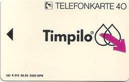 Germany - Timpilo - K0012 - 06.92 - Specimen/Proof (No Chip No Serial)
