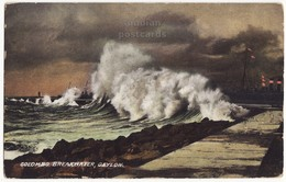 CEYLON, Colombo Breakwater Scene - Big Wave - Ships   C1910s Old Postcard CEYLAN - SRI LANKA - Sri Lanka (Ceylon)