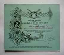 02 -  VILLE DU  NOUVION - Carte De Membre Honoraire Année 1914  - Cercle Symphonique- Valable Pour 2 Personnes - Accessories & Sleeves