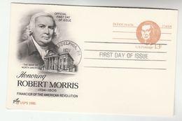 1981 Philadelphia USA 13+13c REPLY Postal STATIONERY CARD Illus ROBERT MORRIS Fdc Stamps Cover - Ganzsachen