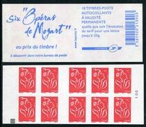 """Carnet De 2006 De 10 Timbres Type """"Lamouche"""" Avec Couvert. Blanche """"Six Opéras De Mozart"""" - Avec CARRE NOIR - Carnets"""