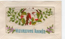 """Belle Carte Brodée Fantaisie """"Heureuse Année"""" Fleurs Oiseau Muguet Carte Brodée"""
