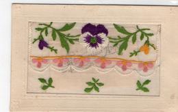 "Belle Carte Brodée Fantaisie ""Heureuse Année"" Fleurs Pensées Carte Brodée - Embroidered"