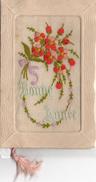 """Belle Carte Brodée Fantaisie """"Bonne Année"""" Fleurs Avec Un Cordon Carte Brodée"""