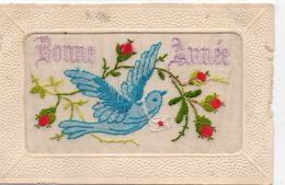 """Belle Carte Brodée Fantaisie """"Bonne Année"""" Colombe Fleurs Carte Brodée - Brodées"""