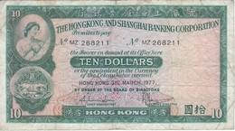 BILLETE DE HONG KONG DE 10 DOLLARS DEL AÑO 1977 (BANKNOTE) - Hong Kong