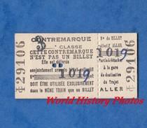 Ticket De Train / Contremarque 3e Classe - Billet Aller - 9 Aout 1955 - Chemin De Fer SNCF ? RATP ? - Titres De Transport