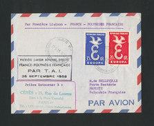 FRANCE - 1ère Liaison Aérienne Directe FRANCE POLYNÉSIE Par T.A.I. 28/9/1958 - Airmail