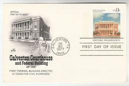 1977 Gavleston USA Postal STATIONERY CARD FDC Illus GALVESTON COURTHOUSE  Stamps Cover