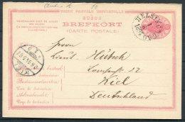 1894 Sweden 10 Ore Stationery Reply Postcard Helsingborg - Kiel, Germany - Sweden