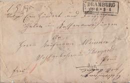 NDP Geldbrief Mef Minr.2x 5 R2 Dramburg 28.6.gel. Nach Stargard - Norddeutscher Postbezirk