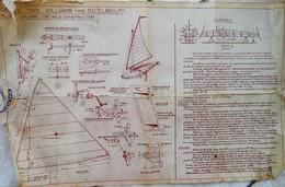 """CANOE MAX WILLIAMS Type 50 """"Djibouti """" -  Voilier Léger Ultrarapide - Années 1939 Et Suivantes - 3 Plans à Restaurer - Planches & Plans Techniques"""