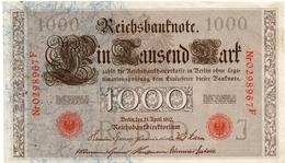1910 - Allemagne - Billet De 1000 Mark- Circulé - 2 Petits Trous D'épingle - [ 2] 1871-1918 : German Empire