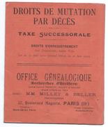 Droits De Mutation Par Décés/Taxe Successorale/Office Généalogique/Millet & Beller/Recherches D'Héritiers/1920      BA56 - France