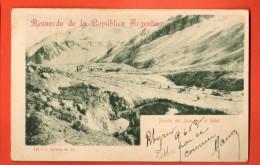 IBQ-10  Recuerdo De La Republica Argentina. Puente Del Inca Con El Hotel. Used In 1903 To Roubaix France. Pioneer. - Argentina