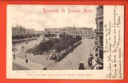 IBQ-11  Recuerdo De Buenos Aires. Piaza 25 De Mayo Con Palacio  Used In 1903 To Roubaix France. Pioneer. - Argentina