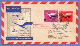 GER SC #C61, C64 1955 Air Service Lufthansa / Hamburg To Paris - [7] Federal Republic