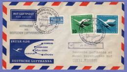 "GER SC #C62-3 + ""NOTOPFER"" 1955 Air Service First Flight Lufthansa: Koln/Bonn To Munchen - Lettere"
