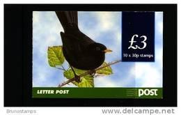 IRELAND/EIRE - 1998  £. 3  BOOKLET  BLACKBIRD  PERF. 15x14 NO PHOSPHOR FRAME MINT NH - Libretti