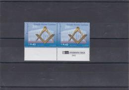 PORTUGAL STAMPS MNH 2002 - 200 ANOS GRANDE ORIENTE LUSITANO - X2 - MASONRY , MASONIC - 1910-... République
