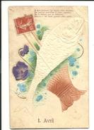 1er Avril - A Mon  Poisson J'ai Donné Votre Adresse - Fleur Violettes En Tissu En Relief - 1042 - 1er Avril - Poisson D'avril